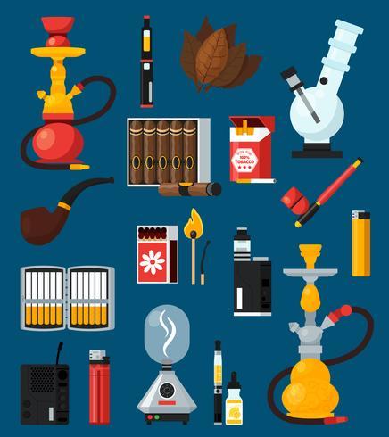 Rauchen flache farbige Icons Set vektor