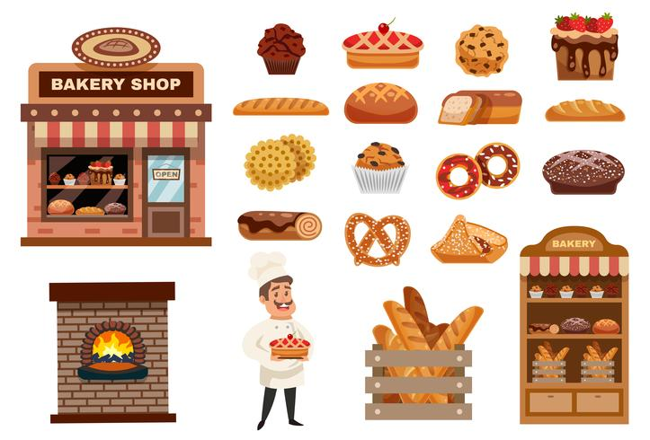 Bäckerei-Icons Set vektor