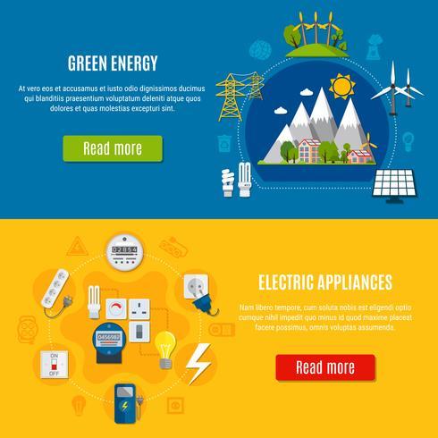 grön energi och elektriska apparater banderoller vektor