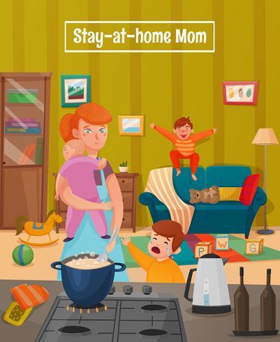 Mutterschaft müde Mutter Poster vektor