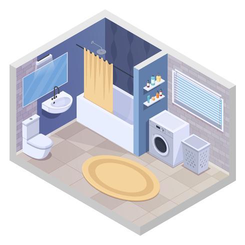 Modernes Badezimmer isometrische Zusammensetzung vektor