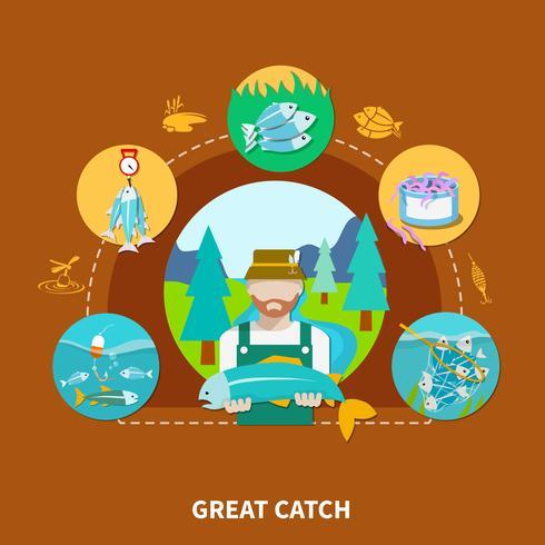 große Fischstreik Zusammensetzung vektor