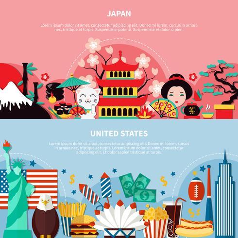 Japan och USA Horisontella Banderoller vektor