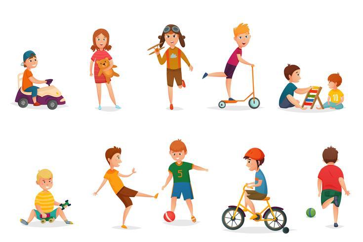 Retro Karikatur-Kinder, die Ikonen-Satz spielen vektor