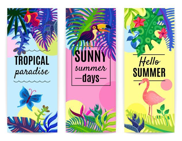 Tropisk paradis vertikal bannersamling vektor
