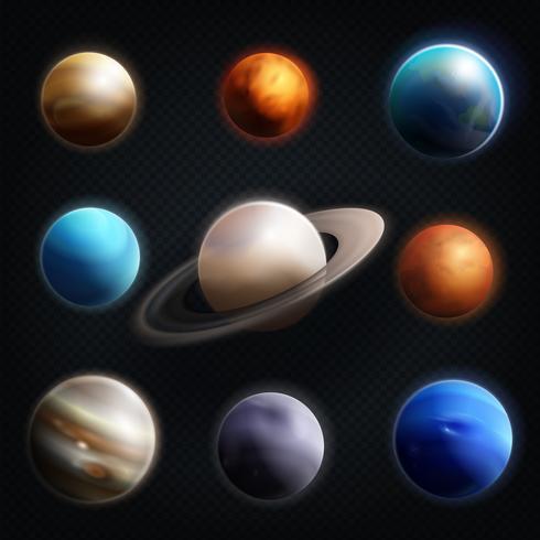 Planetrealistisk ikonuppsättning vektor