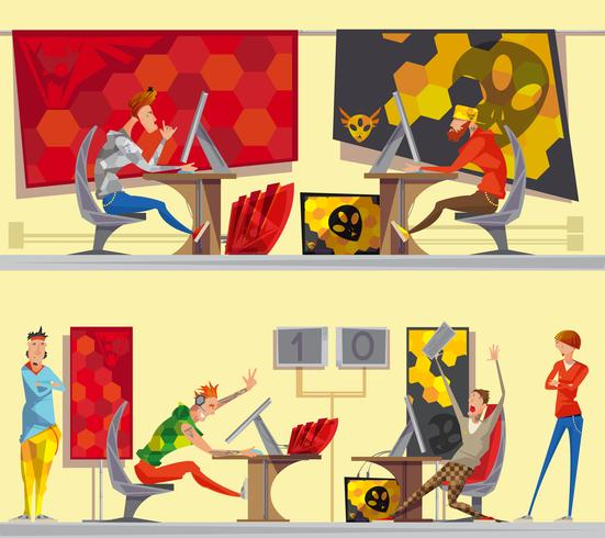 Cybersport Gamers 2 Flat Cartoon Banner vektor