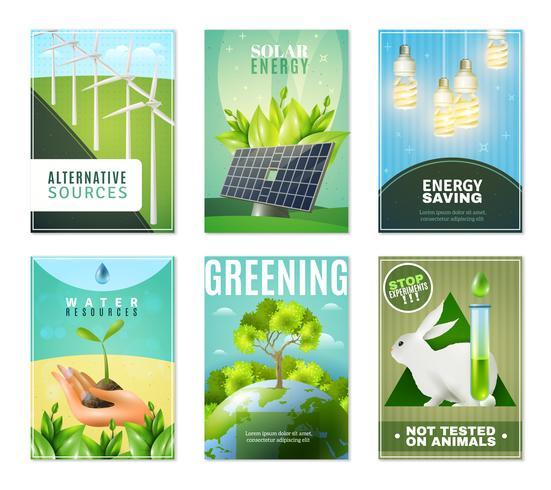 Ekologi 6 Mini Banners Collection vektor