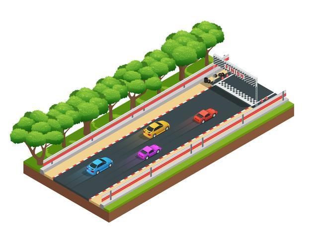 Gaming Speedway isometrisk komposition vektor
