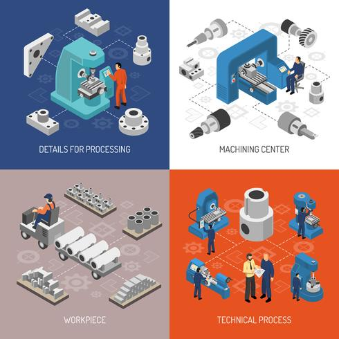 Tung industriell isometrisk designkoncept vektor