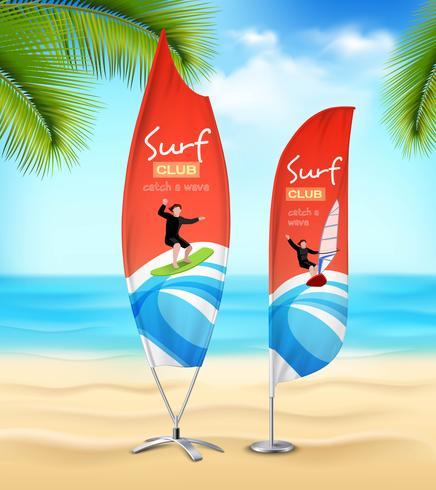 surfa klubb 2 advertsement strand banderoller vektor