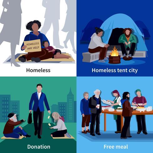 Hemlösa människor 2x2 Design Concept vektor