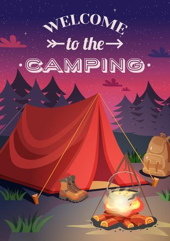Willkommen beim Campingposter vektor