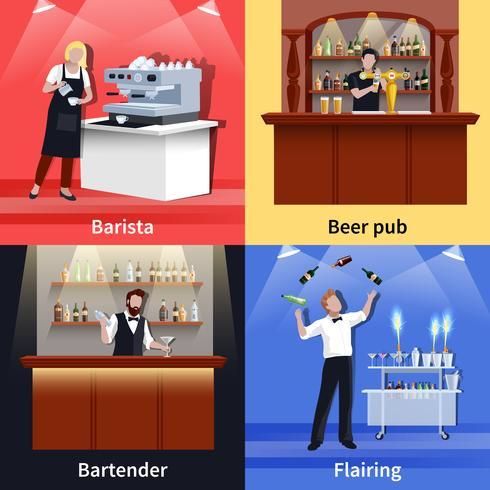 cocktail folk ikonen uppsättning vektor