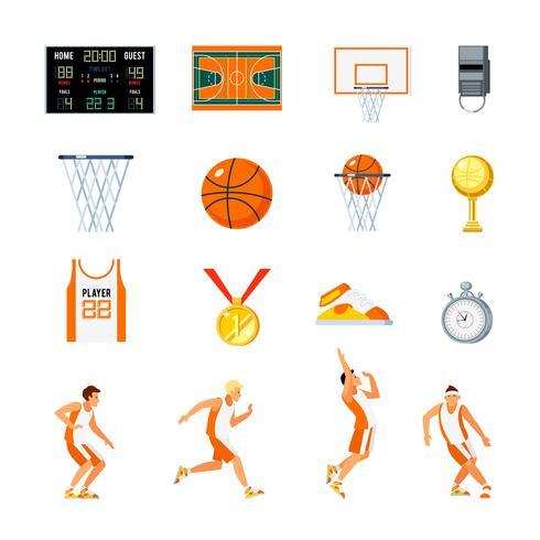 Basket Orthogonal Ikoner Set vektor