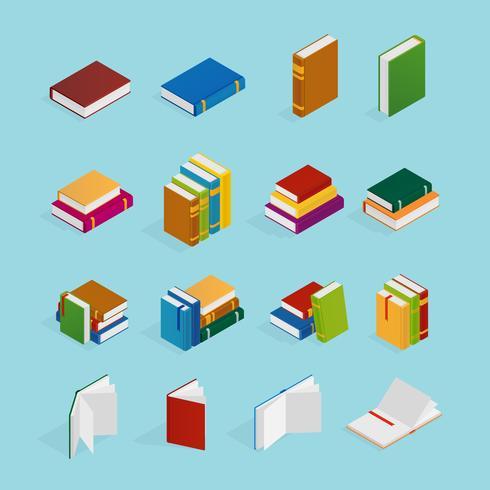 Böcker Isometric Icons Set vektor