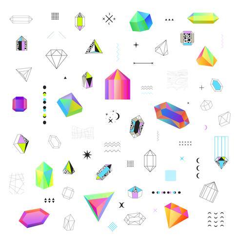 Polygonala kristaller ikoner stor uppsättning vektor