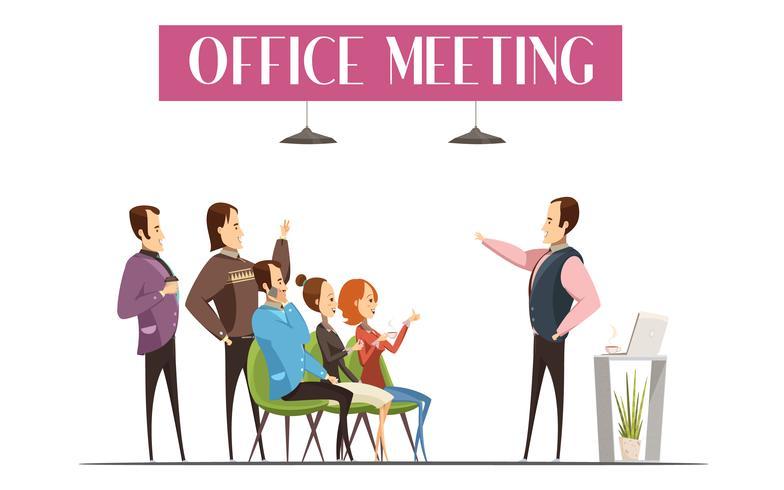 Büro, das Karikatur-Art-Design trifft vektor