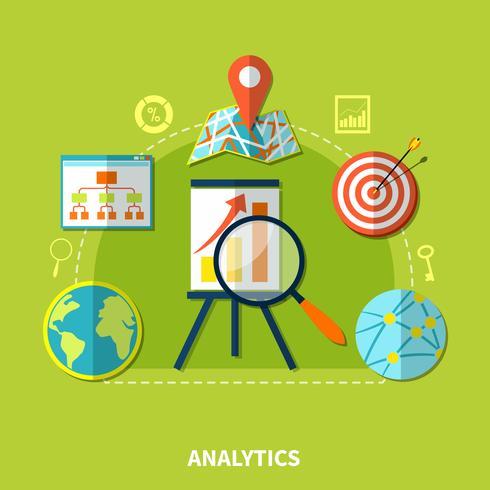 Zusammensetzung von Web Analytics-Symbolen vektor