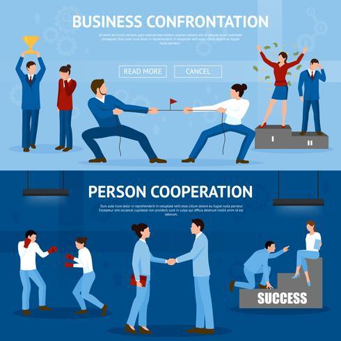 Konstruktiva Business Confrontation Flat Banners Set vektor