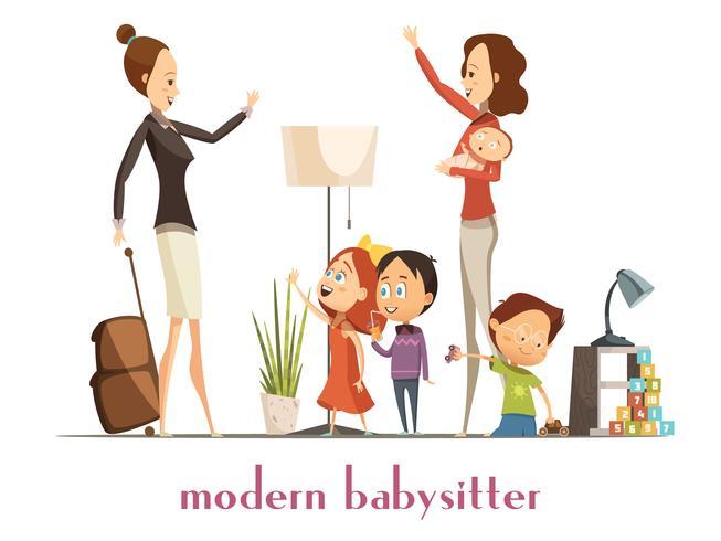 Moderne Babysitter-Kindermädchen-Service-Karikatur-Illustration vektor