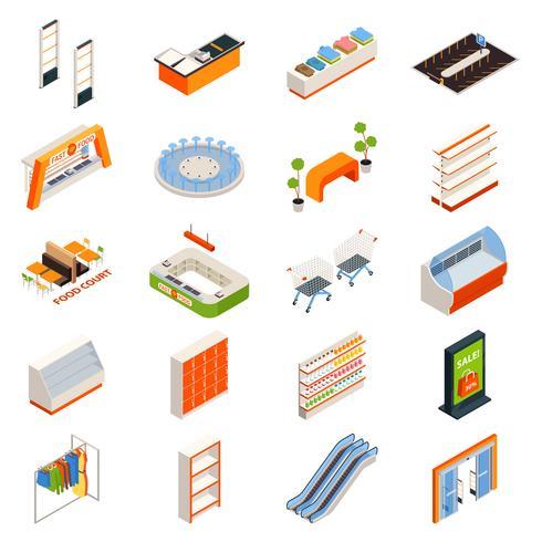 hypermarket möbler objekt set vektor
