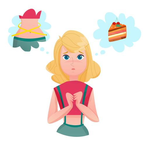 Dieting Foder Lady Temptations Cartoon Character vektor