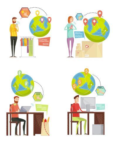 Välgörenhetsbetalning 2x2 Design Concept vektor