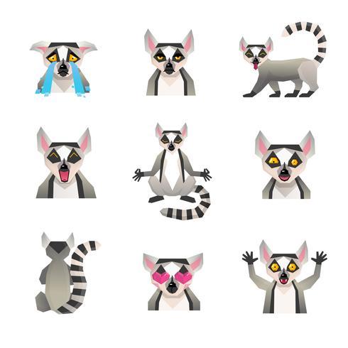 polygonal lemur ikonuppsättning vektor