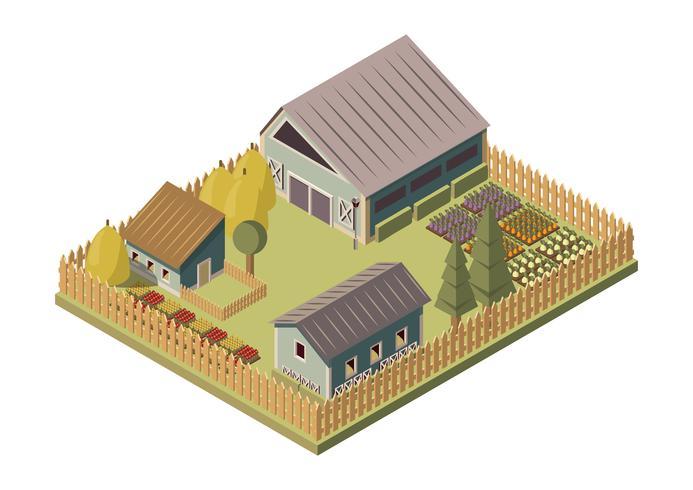 Ranch isometrisches Layout vektor