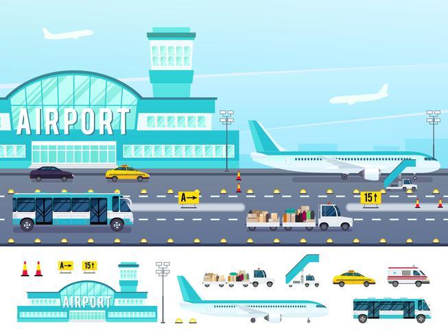 Flygplats Flat Style Illustration vektor