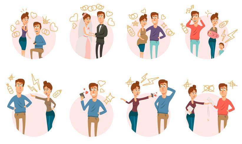 Ehe Scheidung Icons Collection vektor