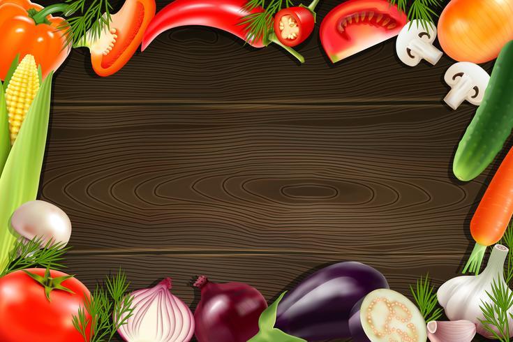 Grönsaker Träbakgrund vektor