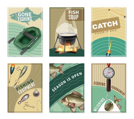 Färskvattenfiske 6 Posters Trycksamling vektor