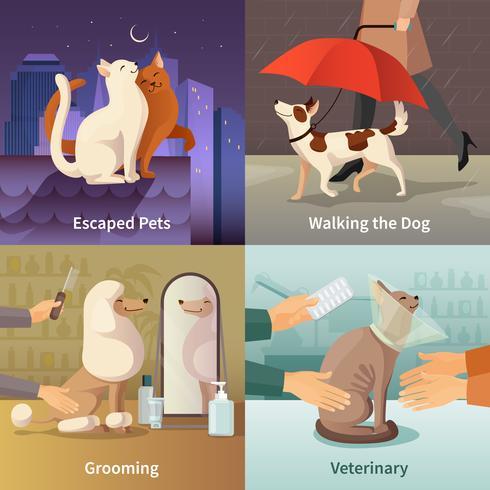 Pet Shop Concept Ikoner Set vektor