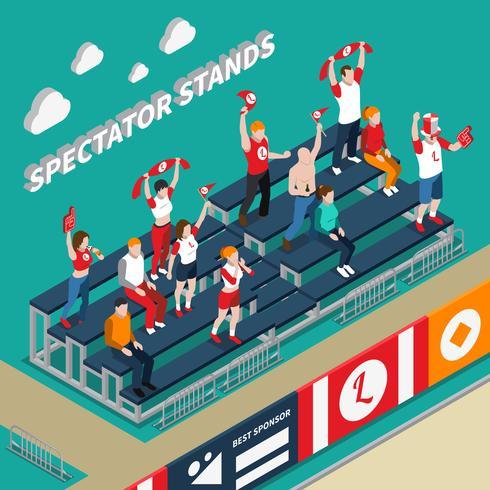Zuschauer steht mit Fans isometrische Illustration vektor