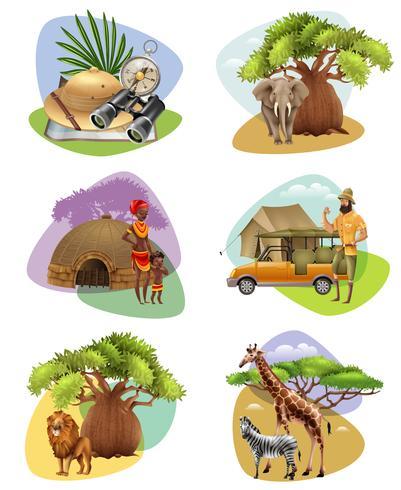 Set Mini Kompositionen auf Safari Theme vektor