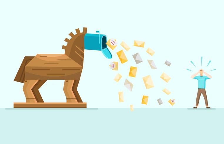 Trojan Spam Mail Allegory Flat Illustration vektor