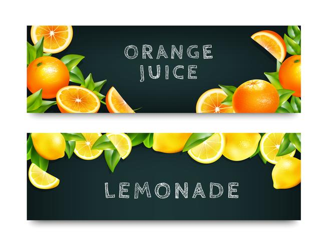 Orangensaft Limonade 2 Banner Set vektor