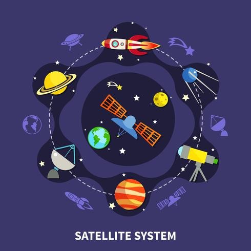 Satellitsystemkoncept vektor