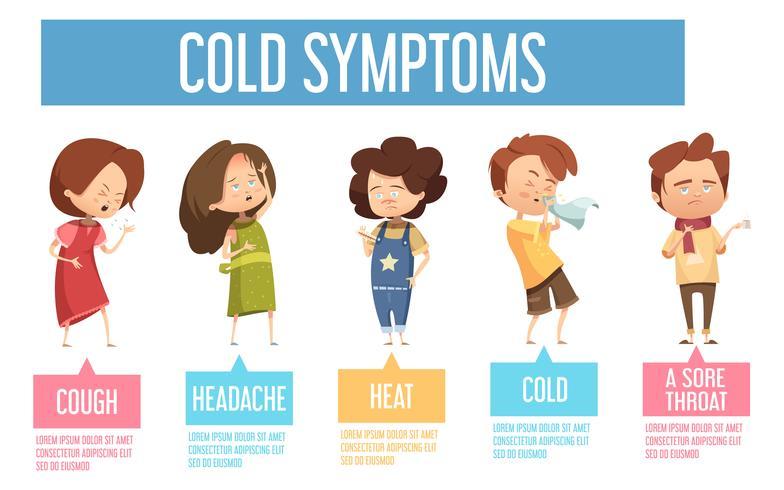 Kalte Symptome scherzt flaches infographic Plakat vektor