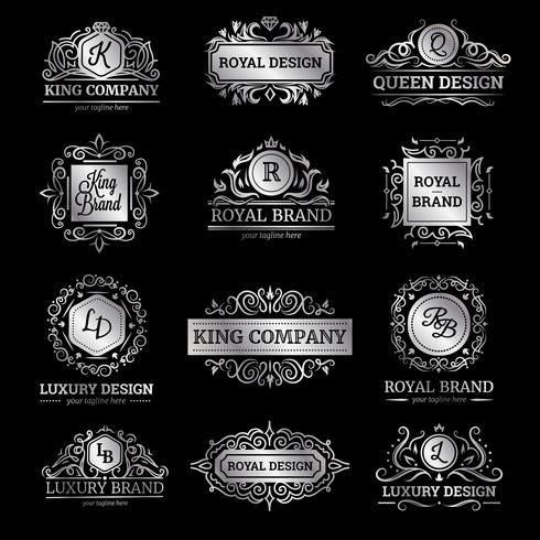 Silver Luxury Etiketter Set vektor