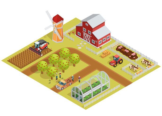 Isometrische Vorlage für landwirtschaftliche Betriebe vektor