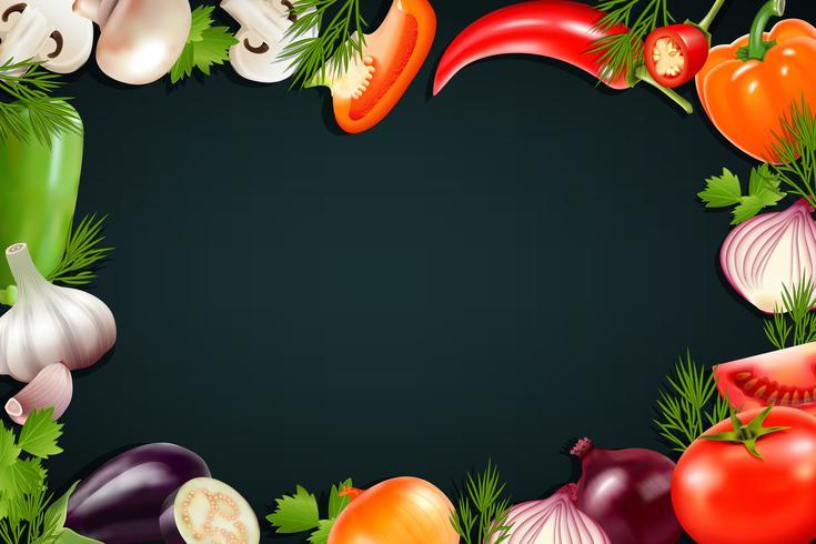 Svart bakgrund Med Färgglada Grönsaker Ram vektor