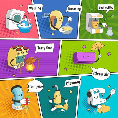 Hushållsapparater Bright Colorful Comic Page vektor