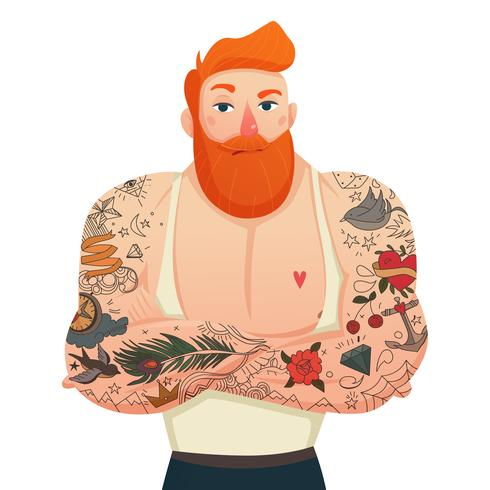 Tatuerad Man Isolerad Figur vektor