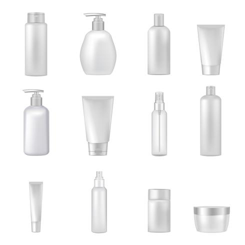 Kosmetikflaskor Rör Tomma Rensa Set vektor