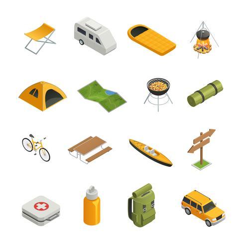 Camping Vandring Isometrisk Icon Set vektor