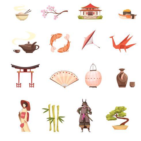 Retro Karikatur-Ikonen Japans eingestellt vektor