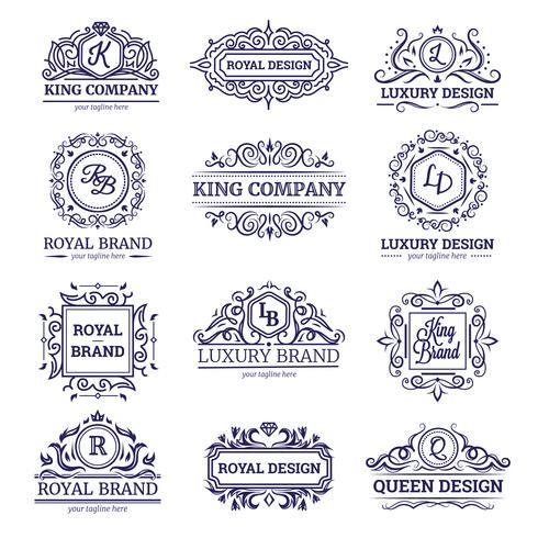 Luxury Labels Monochrome Set vektor